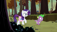 Spike hiding his face from Rarity S8E11