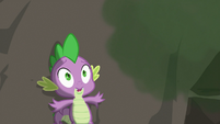 Spike scared and flattening himself against the cliff S3E9