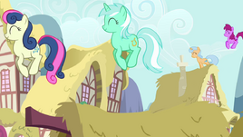 The ponies are jumping on rooftops S2E18