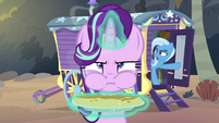 Trixie emerging from the wagon S8E19