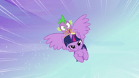 Twilight and Spike flying to Ponyville S4E01