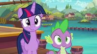 Twilight and Spike wait for their pony friends S6E22