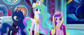 Celestia, Luna, and Cadance staring blankly MLPTM.png