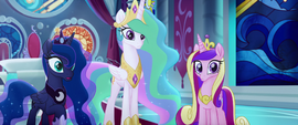 Celestia, Luna, and Cadance staring blankly MLPTM