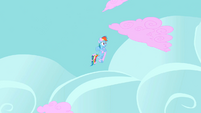 Cotton candy clouds zooming past Rainbow Dash S2E01