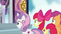 Cutie Mark Crusaders waiting for Cozy Glow S8E12