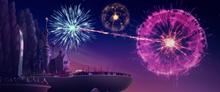 Fireworks over Canterlot at sunset MLPTM
