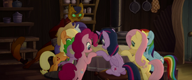 Mane Six and Capper around a table MLPTM