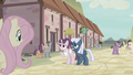 Sugar Belle and Night Glider smiling at Fluttershy S5E02.png