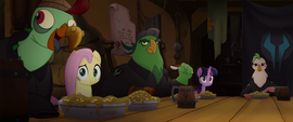 Twilight, Fluttershy, and pirates look at Dash MLPTM