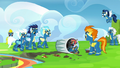 Wonderbolts laughing at Rainbow Dash S6E7.png