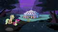 AJ and Apple Bloom walking back to Flim and Flam's tent S4E20.png