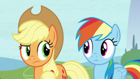 Applejack and Rainbow look at each other S8E9