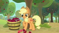 Applejack looks at apples she dropped S9E10
