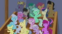 Audience of ponies cheering for Tender Taps S6E4