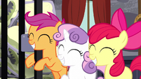 Cutie Mark Crusaders grinning happily S5E6