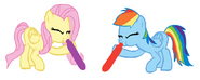 FANMADE Rainbow Dash and Fluttershy Blowing Balloons