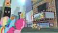Fluttershy, Rainbow and Pinkie looking at the theatre S4E08.png