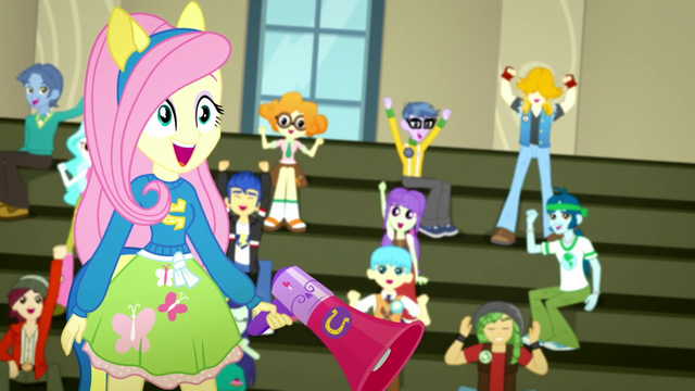 "File:Fluttershy and students cheer ""Yay!"" again SS4.png"