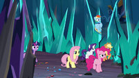 Mane Six surrounded by crystal spires S9E2