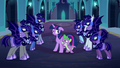 Nightmare Moon's guards surround Twilight and Spike S5E26.png