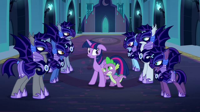 File:Nightmare Moon's guards surround Twilight and Spike S5E26.png