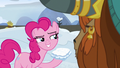 Pinkie Pie coyly holding a snow sandwich S7E11.png