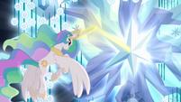 Princess Celestia using magic on tree S4E2