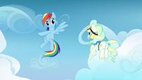 Rainbow Dash teaching tricks to Vapor Trail S6E24