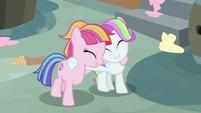Toola Roola and Coconut Cream hugging S7E14