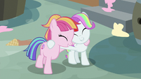Toola Roola and Coconut Cream hugging S7E14