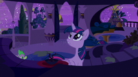 Twilight climbs up the stairs and Spike follows S5E12