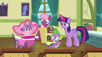 Twilight puts Flurry Heart in her stroller again S7E3