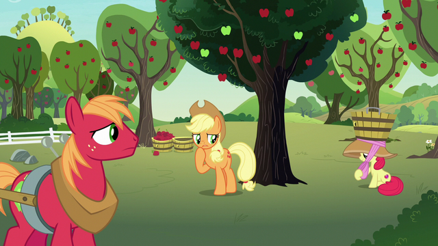 File:AJ, Apple Bloom, and Big Mac at Sweet Apple Acres S7E9.png