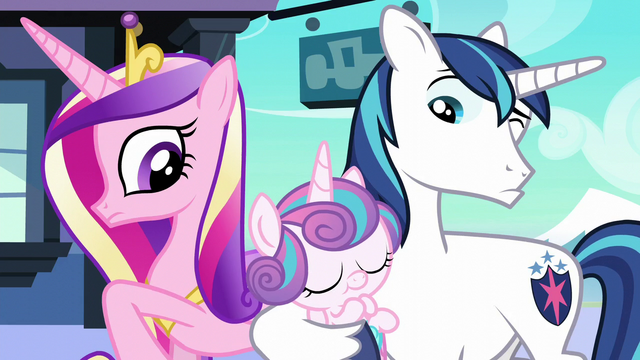 File:Cadance and Shining Armor look at their baby S6E2.png