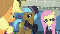 Goth Fluttershy rolls her eyes at Applejack S8E4
