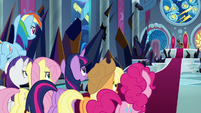 Mane Six confronting King Sombra S9E2