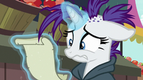 Rarity worriedly looks at her to-do list S7E19