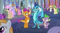 Spike, Ember, and Smolder listen to Twilight S8E1