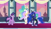 Twilight, Celestia, and Luna hear trumpets S9E26