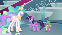 Twilight Sparkle pleading with Celestia S8E7