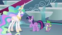 Twilight Sparkle pleading with Celestia S8E7