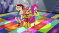 Applejack, Sunset, and Pinkie Pie on dance floor EGS1.png