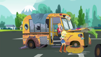 Applejack knocks off the bus's front right tire frame SS13