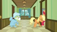 Applejack pushes Big McIntosh into the room S6E23