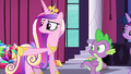 Cadance pointing at the crowd of delegates S5E10.png