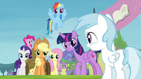 Cotton Cloudy walks up to Mane 6 S4E22