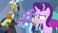 Discord, Trixie, and Starlight looking scared S6E26.png