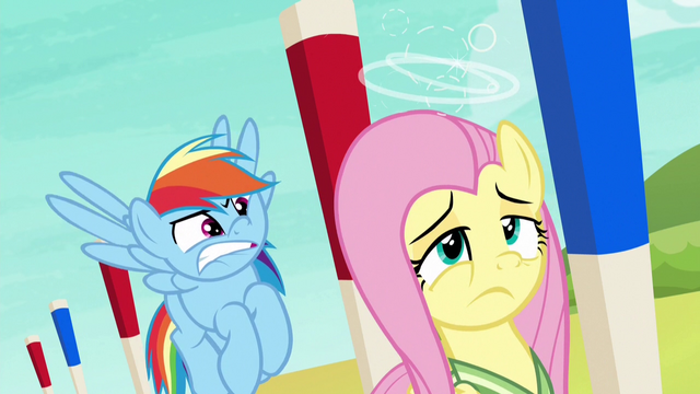File:Fluttershy dizzy; Rainbow Dash frustrated S6E18.png