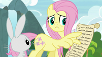 Fluttershy pointing at her to-do list S9E18